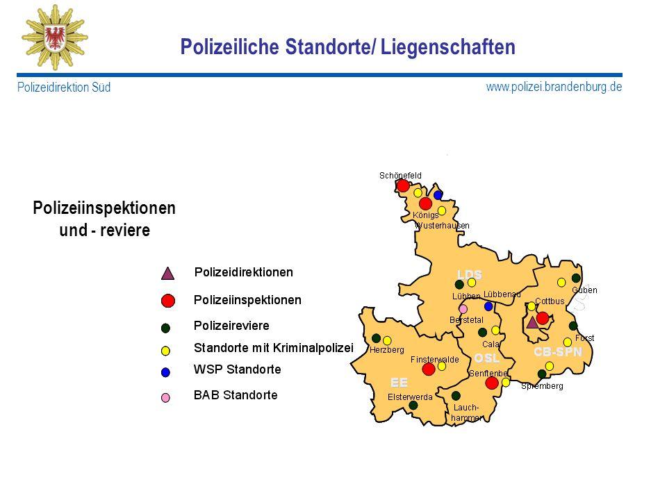 www.polizei.brandenburg.de Polizeidirektion Süd Polizeiliche Standorte/ Liegenschaften Polizeiinspektionen und - reviere