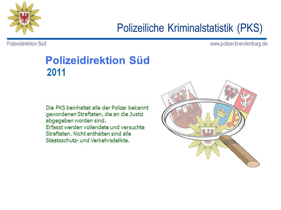 www.polizei.brandenburg.de Polizeidirektion Süd Kriminalitätsentwicklung Erfasste und davon aufgeklärte Fälle (Aufklärungsquote) Polizeiliche Kriminalstatistik 2011 in der PD Süd