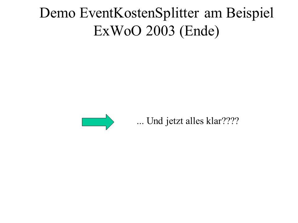 Demo EventKostenSplitter am Beispiel ExWoO 2003 (Ende)... Und jetzt alles klar