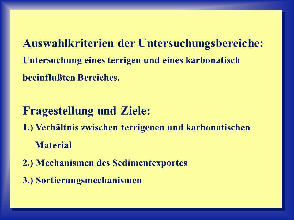 Auswahlkriterien der Untersuchungsbereiche: Untersuchung eines terrigen und eines karbonatisch beeinflußten Bereiches. Fragestellung und Ziele: 1.) Ve