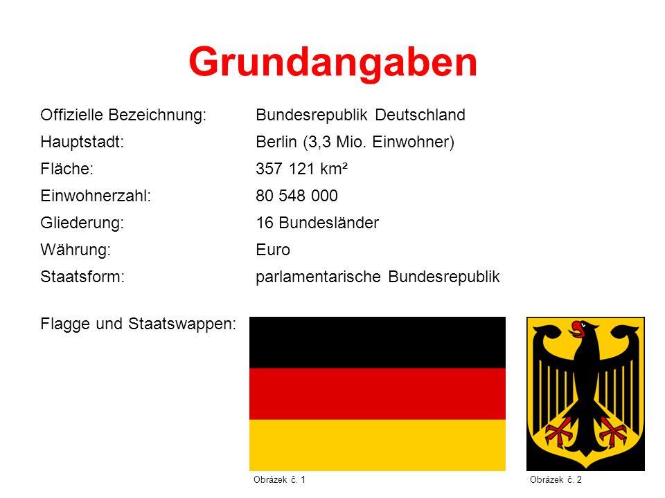 Grundangaben Offizielle Bezeichnung:Bundesrepublik Deutschland Hauptstadt:Berlin (3,3 Mio. Einwohner) Fläche:357 121 km² Einwohnerzahl:80 548 000 Glie