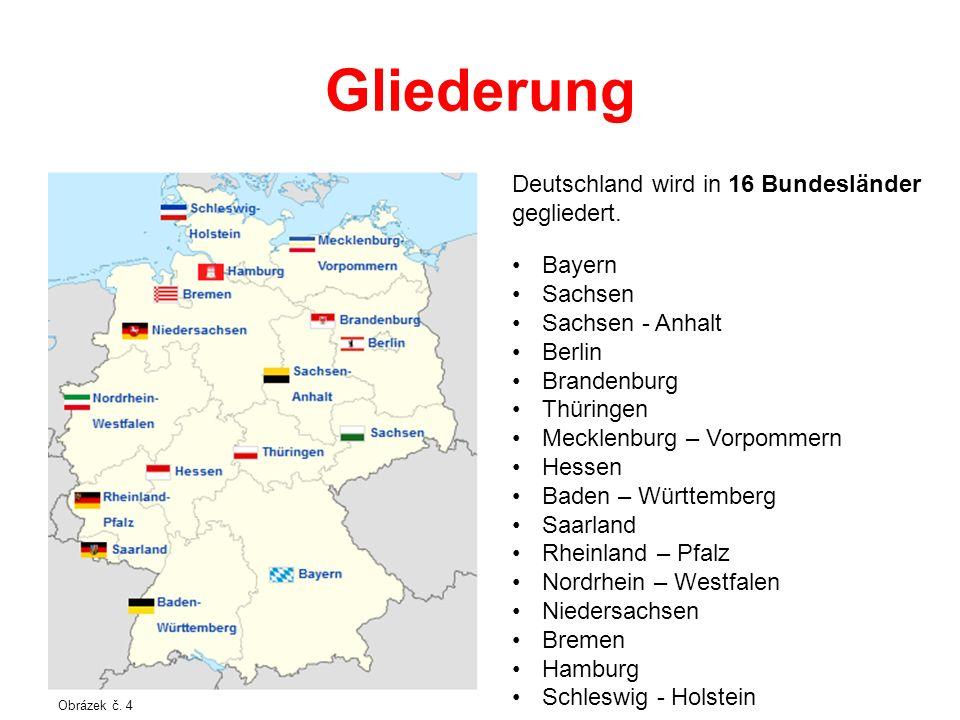 Gliederung Deutschland wird in 16 Bundesländer gegliedert. Bayern Sachsen Sachsen - Anhalt Berlin Brandenburg Thüringen Mecklenburg – Vorpommern Hesse