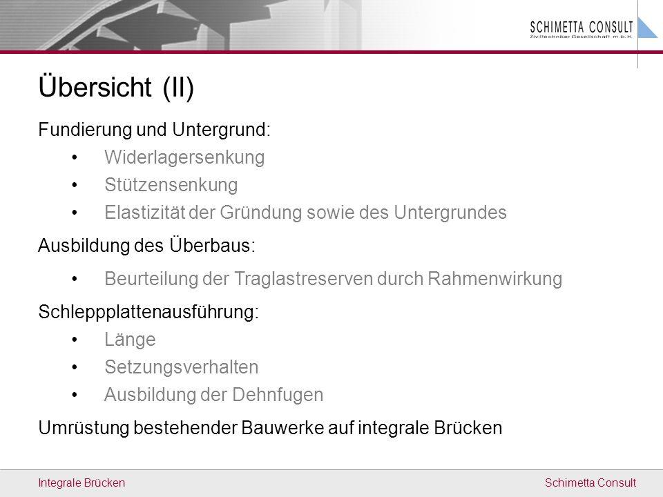 Schimetta ConsultIntegrale Brücken Übersicht (II) Fundierung und Untergrund: Widerlagersenkung Stützensenkung Elastizität der Gründung sowie des Unter