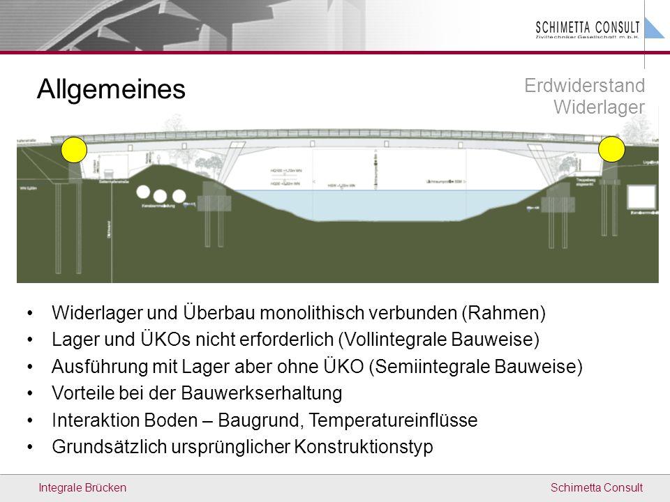 Schimetta ConsultIntegrale Brücken Allgemeines Erdwiderstand Widerlager Widerlager und Überbau monolithisch verbunden (Rahmen) Lager und ÜKOs nicht er