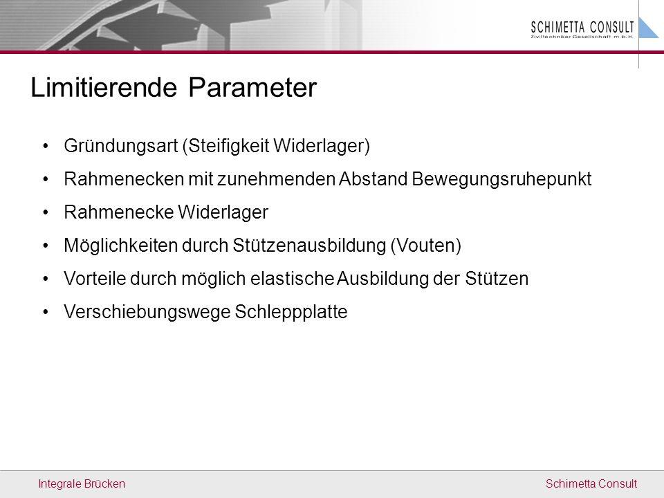 Schimetta ConsultIntegrale Brücken Limitierende Parameter Gründungsart (Steifigkeit Widerlager) Rahmenecken mit zunehmenden Abstand Bewegungsruhepunkt