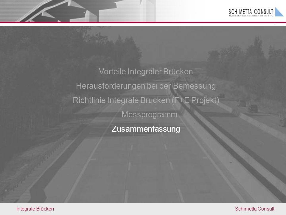 Schimetta ConsultIntegrale Brücken Vorteile Integraler Brücken Herausforderungen bei der Bemessung Richtlinie Integrale Brücken (F+E Projekt) Messprog