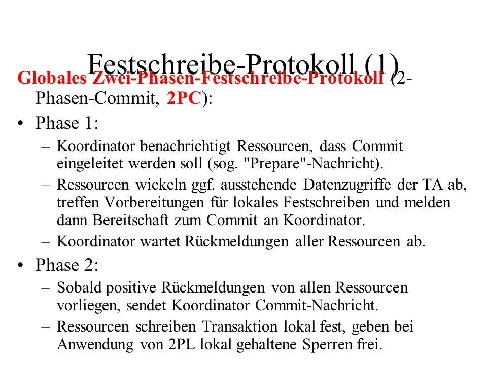 Festschreibe-Protokoll (1) Globales Zwei-Phasen-Festschreibe-Protokoll (2- Phasen-Commit, 2PC): Phase 1: –Koordinator benachrichtigt Ressourcen, dass Commit eingeleitet werden soll (sog.