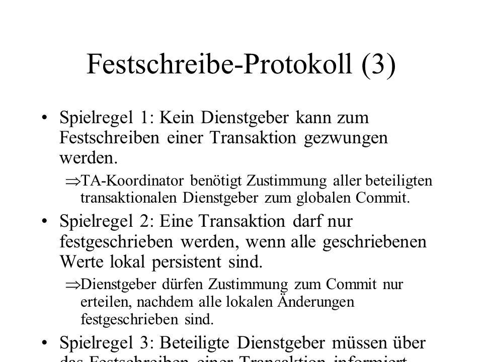 Festschreibe-Protokoll (3) Spielregel 1: Kein Dienstgeber kann zum Festschreiben einer Transaktion gezwungen werden.