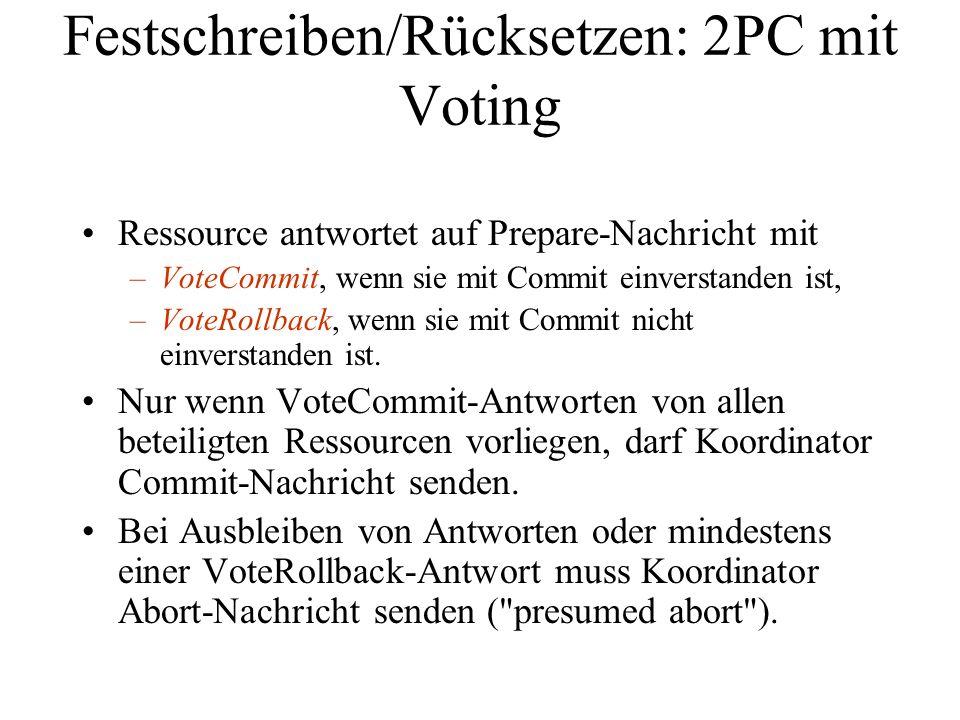 Festschreiben/Rücksetzen: 2PC mit Voting Ressource antwortet auf Prepare-Nachricht mit –VoteCommit, wenn sie mit Commit einverstanden ist, –VoteRollback, wenn sie mit Commit nicht einverstanden ist.
