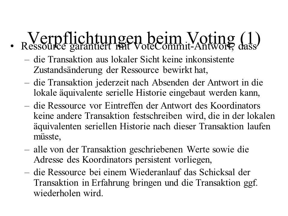 Verpflichtungen beim Voting (1) Ressource garantiert mit VoteCommit-Antwort, dass –die Transaktion aus lokaler Sicht keine inkonsistente Zustandsänderung der Ressource bewirkt hat, –die Transaktion jederzeit nach Absenden der Antwort in die lokale äquivalente serielle Historie eingebaut werden kann, –die Ressource vor Eintreffen der Antwort des Koordinators keine andere Transaktion festschreiben wird, die in der lokalen äquivalenten seriellen Historie nach dieser Transaktion laufen müsste, –alle von der Transaktion geschriebenen Werte sowie die Adresse des Koordinators persistent vorliegen, –die Ressource bei einem Wiederanlauf das Schicksal der Transaktion in Erfahrung bringen und die Transaktion ggf.