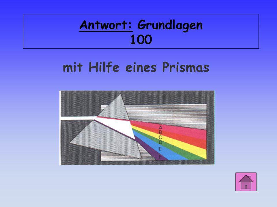 Grundlagen 100 Wie kann man weißes Licht in seine Spektralfarben zerlegen?