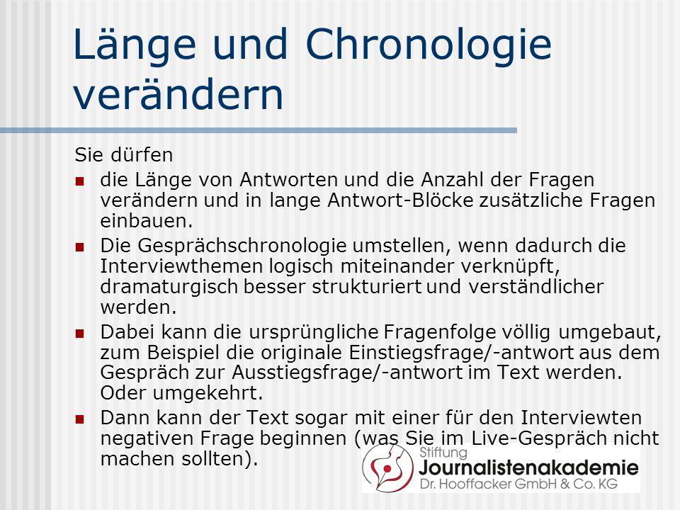 Länge und Chronologie verändern Sie dürfen die Länge von Antworten und die Anzahl der Fragen verändern und in lange Antwort-Blöcke zusätzliche Fragen