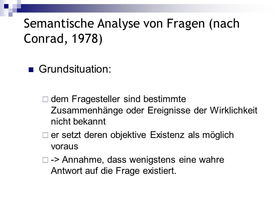 Semantische Analyse von Fragen (nach Conrad, 1978) Grundsituation: dem Fragesteller sind bestimmte Zusammenhänge oder Ereignisse der Wirklichkeit nich