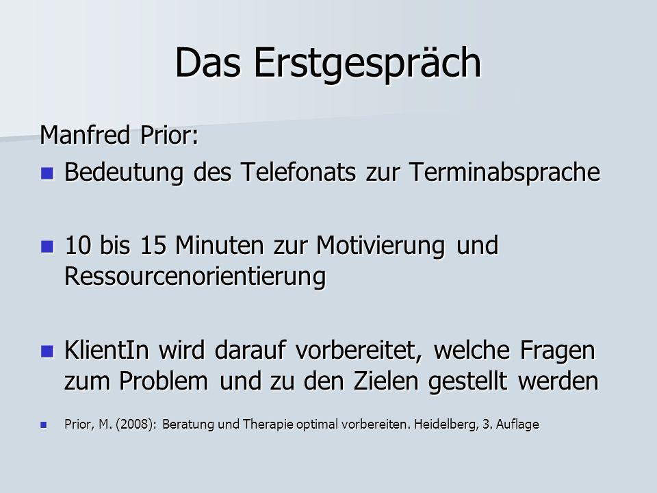 Das Erstgespräch Manfred Prior: Bedeutung des Telefonats zur Terminabsprache Bedeutung des Telefonats zur Terminabsprache 10 bis 15 Minuten zur Motivi