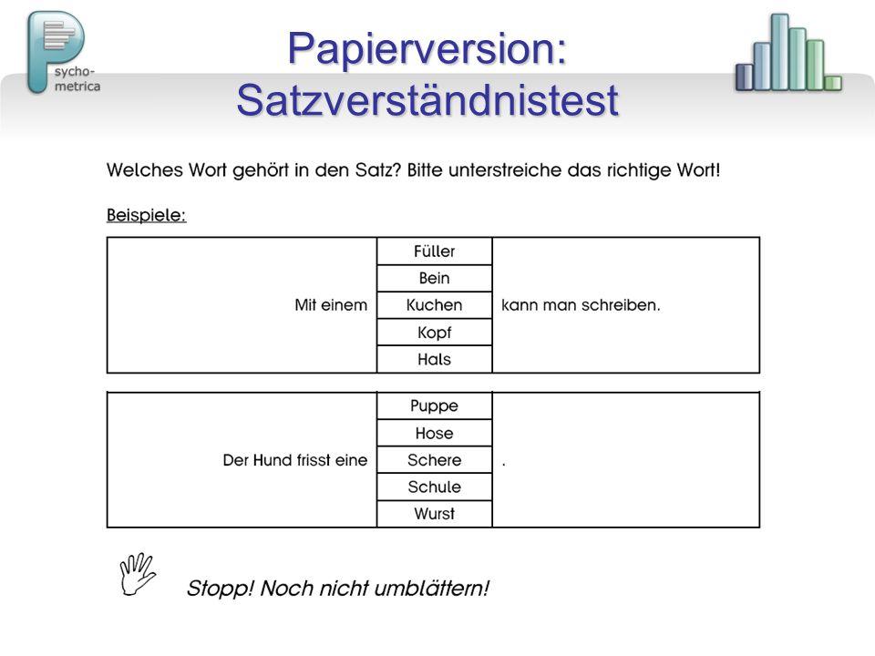 Papierversion: Satzverständnistest