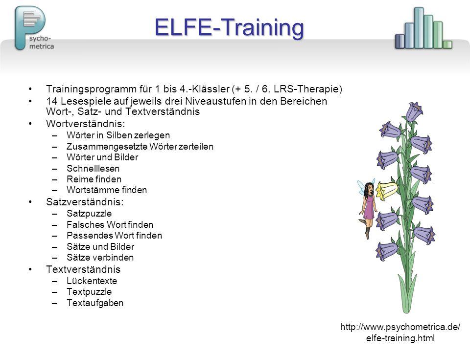 ELFE-Training Trainingsprogramm für 1 bis 4.-Klässler (+ 5. / 6. LRS-Therapie) 14 Lesespiele auf jeweils drei Niveaustufen in den Bereichen Wort-, Sat