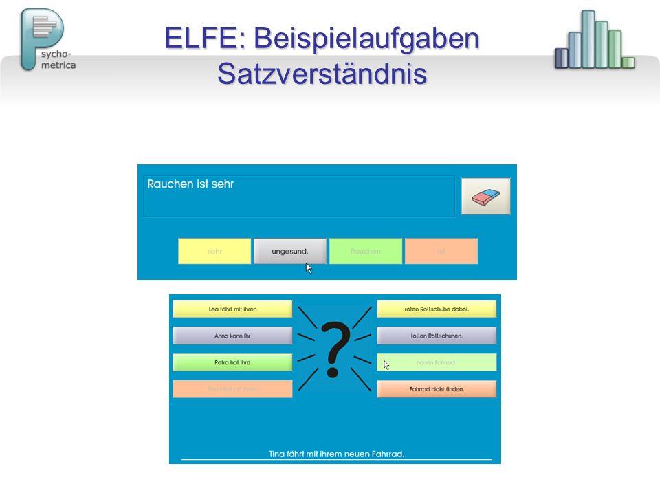 ELFE: Beispielaufgaben Satzverständnis