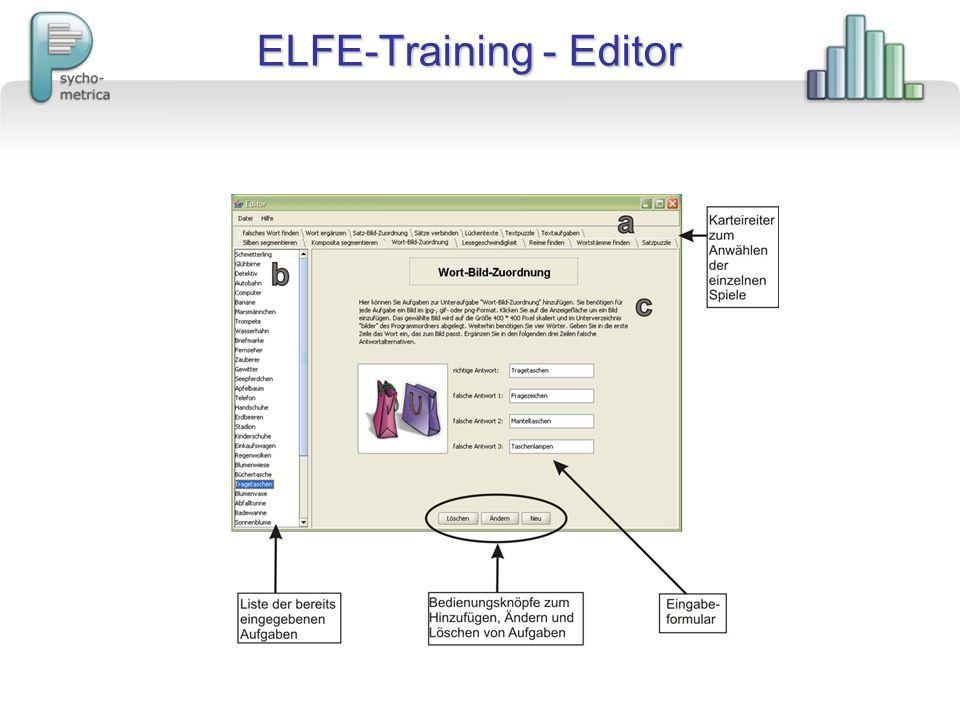 ELFE-Training - Editor