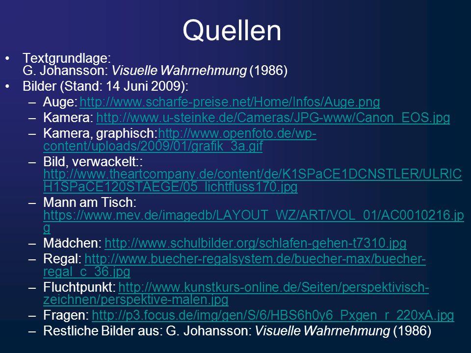 Quellen Textgrundlage: G. Johansson: Visuelle Wahrnehmung (1986) Bilder (Stand: 14 Juni 2009): –Auge: http://www.scharfe-preise.net/Home/Infos/Auge.pn
