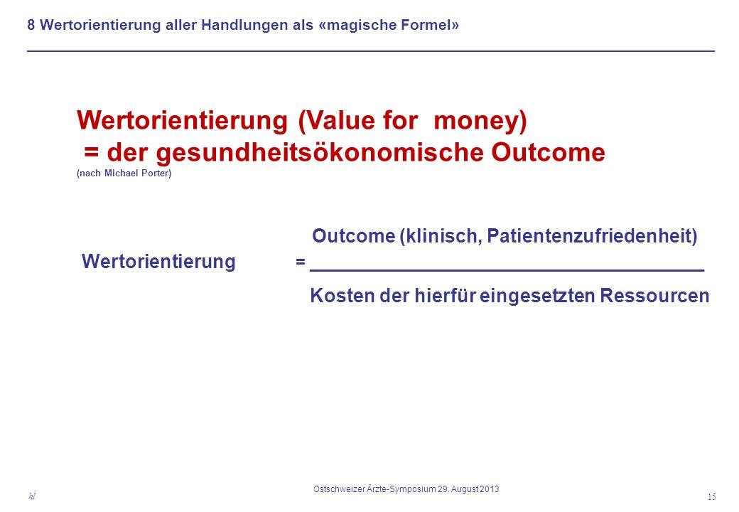 8 Wertorientierung aller Handlungen als «magische Formel» 15 hl Ostschweizer Ärzte-Symposium 29.