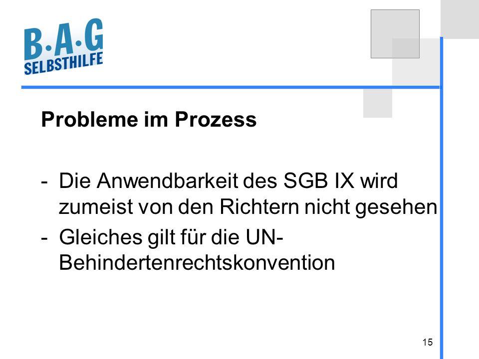 15 Probleme im Prozess -Die Anwendbarkeit des SGB IX wird zumeist von den Richtern nicht gesehen -Gleiches gilt für die UN- Behindertenrechtskonventio