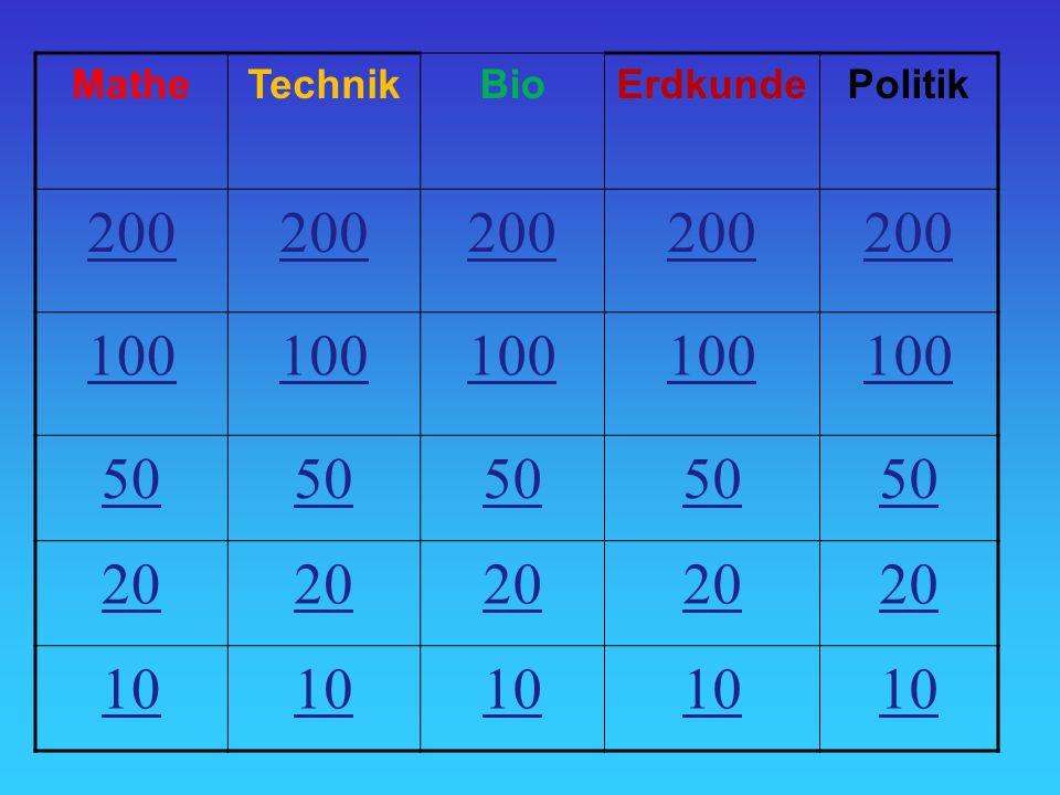 MatheTechnikBioErdkundePolitik 200 100 50 20 10