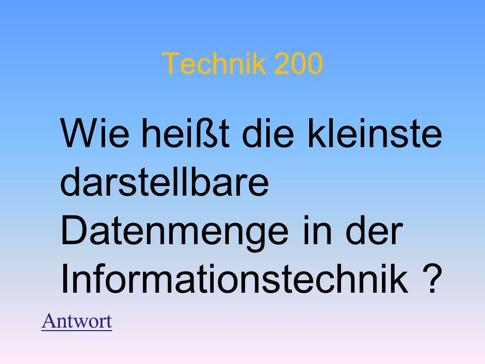 Technik 200 Wie heißt die kleinste darstellbare Datenmenge in der Informationstechnik ? Antwort