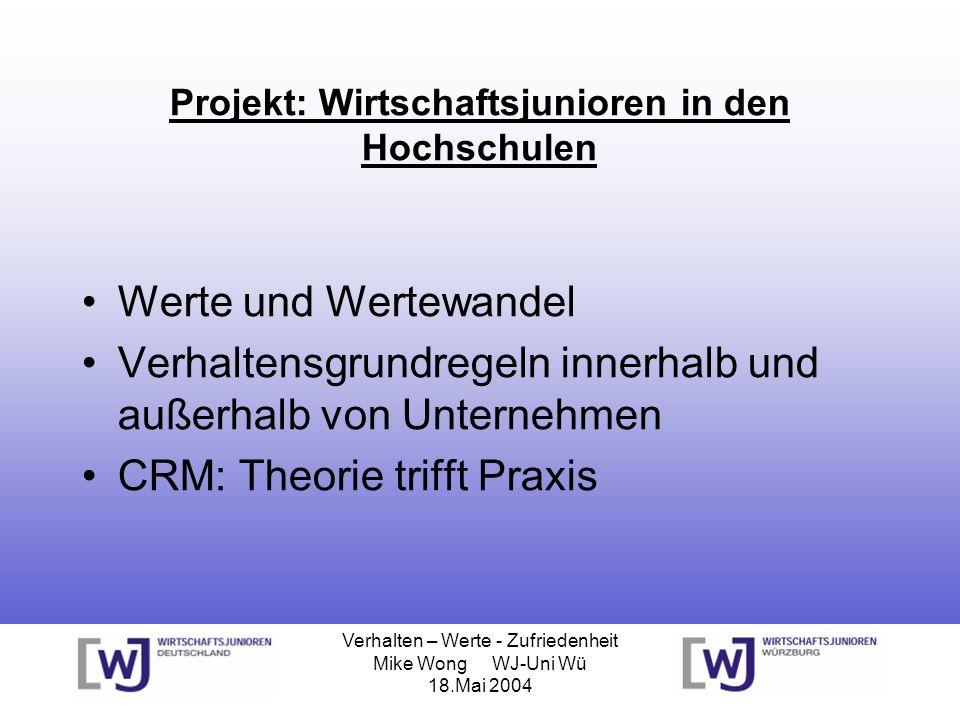 Verhalten – Werte - Zufriedenheit Mike Wong WJ-Uni Wü 18.Mai 2004 Chancen durch Wertewandel [ Martin Heidenreich und Hans-Joachim Braczyk ] 1.