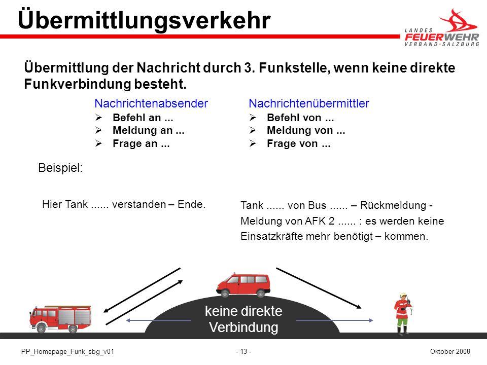 - 13 -Oktober 2008PP_Homepage_Funk_sbg_v01 Übermittlungsverkehr Nachrichtenabsender Befehl an... Meldung an... Frage an... Nachrichtenübermittler Befe
