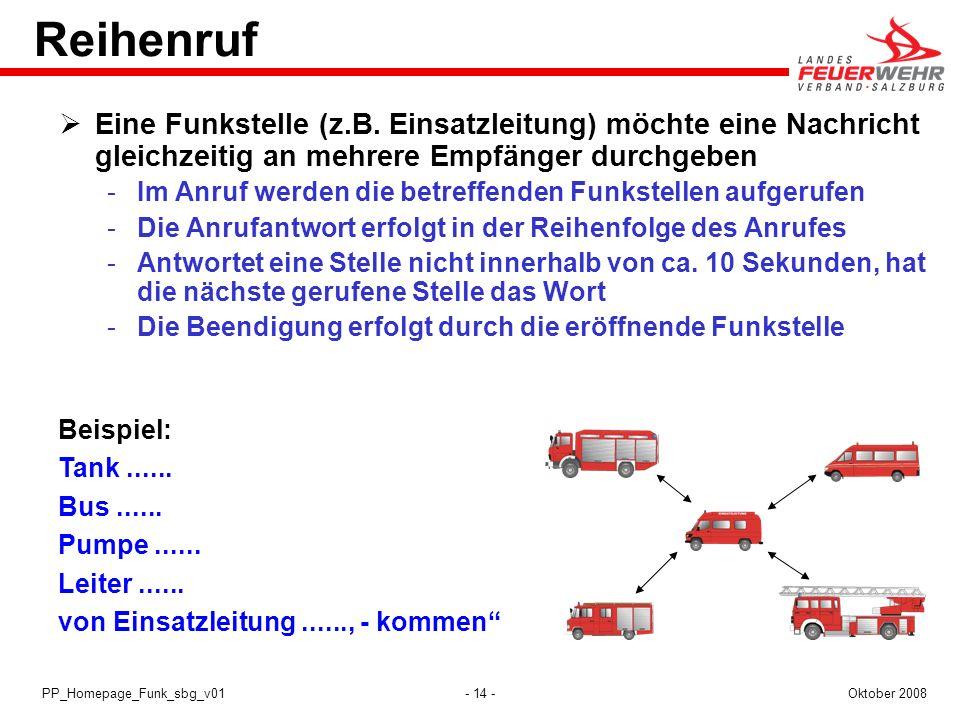 - 14 -Oktober 2008PP_Homepage_Funk_sbg_v01 Reihenruf Eine Funkstelle (z.B. Einsatzleitung) möchte eine Nachricht gleichzeitig an mehrere Empfänger dur
