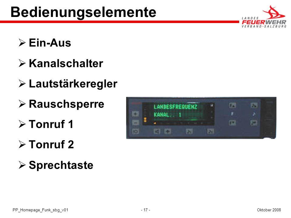- 17 -Oktober 2008PP_Homepage_Funk_sbg_v01 Bedienungselemente Ein-Aus Kanalschalter Lautstärkeregler Rauschsperre Tonruf 1 Tonruf 2 Sprechtaste