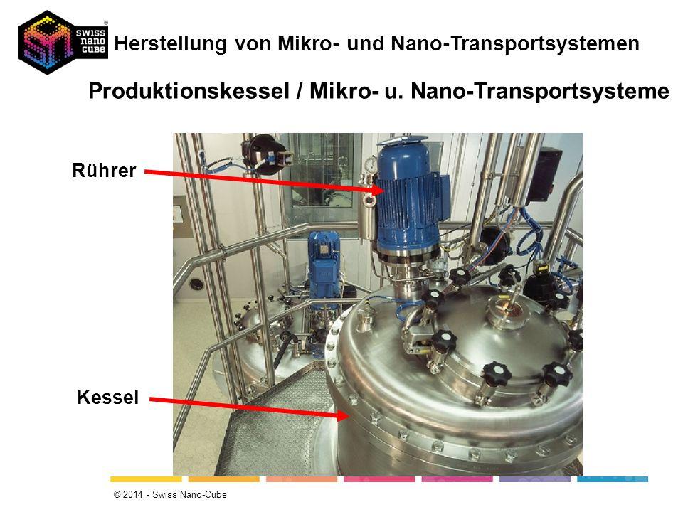 Produktionskessel / Mikro- u. Nano-Transportsysteme Kessel Rührer Herstellung von Mikro- und Nano-Transportsystemen © 2014 - Swiss Nano-Cube