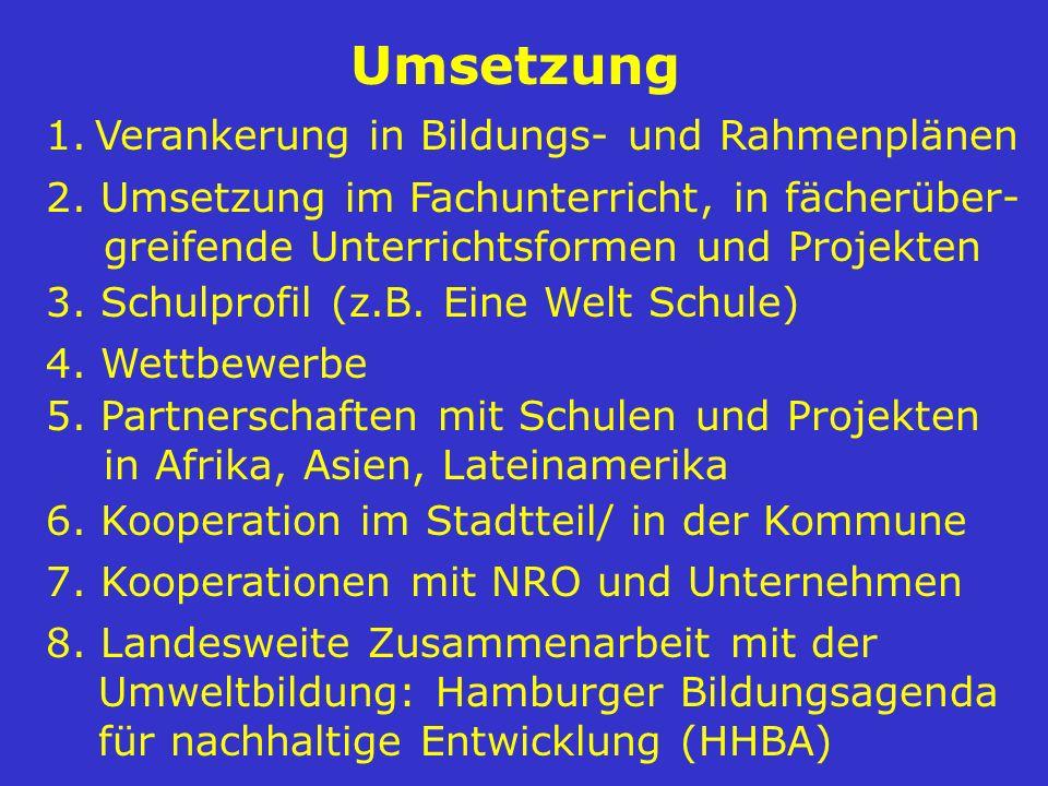 8. Landesweite Zusammenarbeit mit der Umweltbildung: Hamburger Bildungsagenda für nachhaltige Entwicklung (HHBA) 1. Verankerung in Bildungs- und Rahme