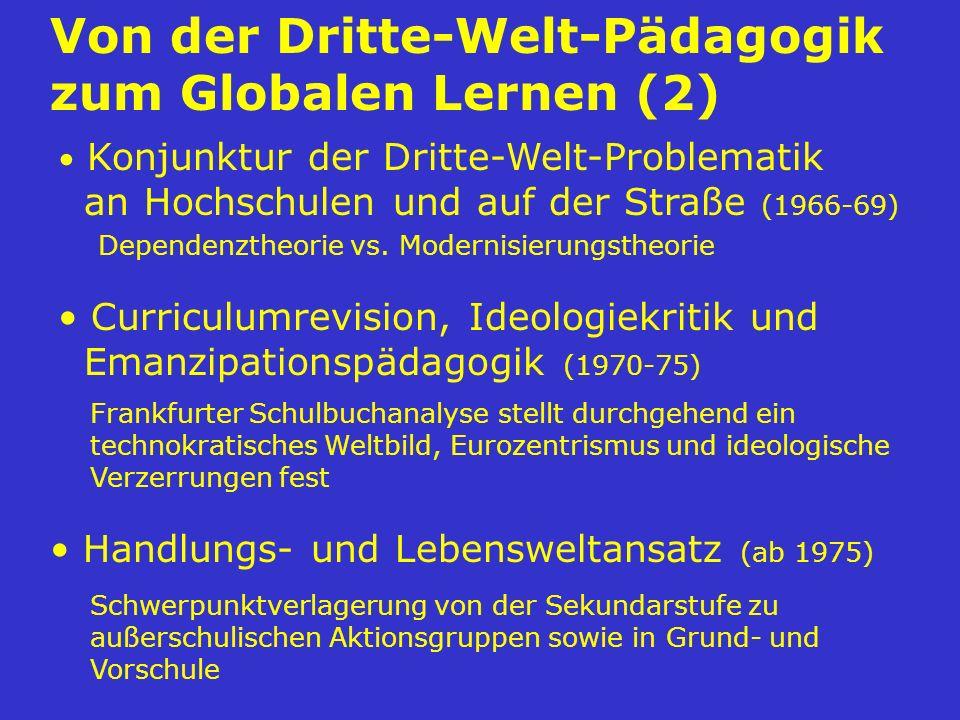 Von der Dritte-Welt-Pädagogik zum Globalen Lernen (2) Handlungs- und Lebensweltansatz (ab 1975) Schwerpunktverlagerung von der Sekundarstufe zu außers