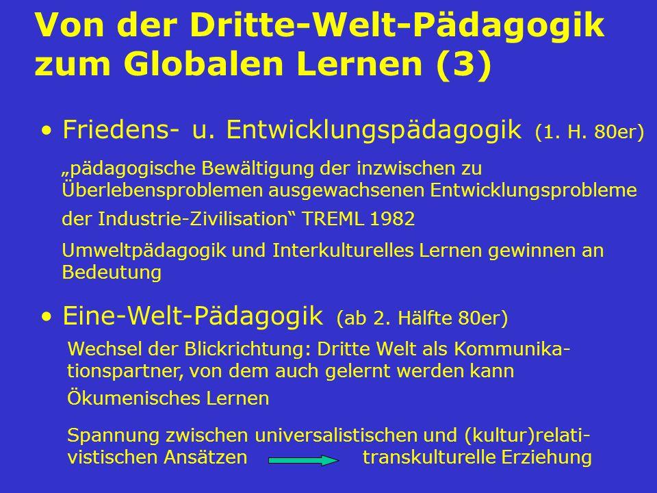 Von der Dritte-Welt-Pädagogik zum Globalen Lernen (3) Friedens- u. Entwicklungspädagogik (1. H. 80er) Eine-Welt-Pädagogik (ab 2. Hälfte 80er) pädagogi
