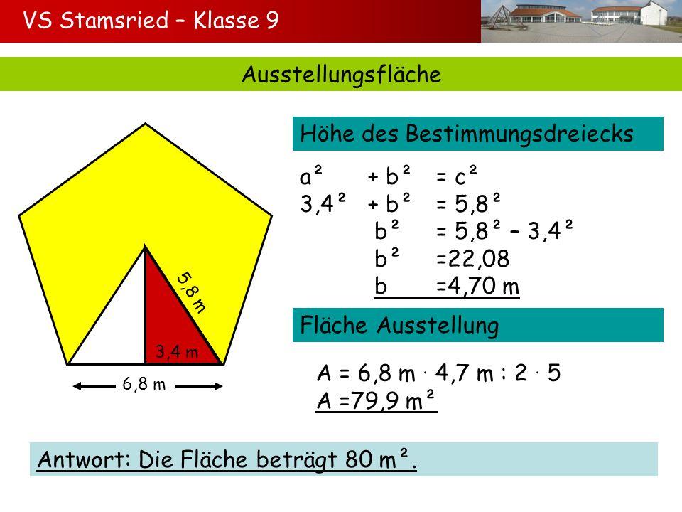 Ausstellungsfläche 6,8 m 5,8 m 3,4 m Höhe des Bestimmungsdreiecks a²+ b²= c² 3,4²+ b²= 5,8² b²= 5,8² – 3,4² b²=22,08 b=4,70 m Fläche Ausstellung A = 6