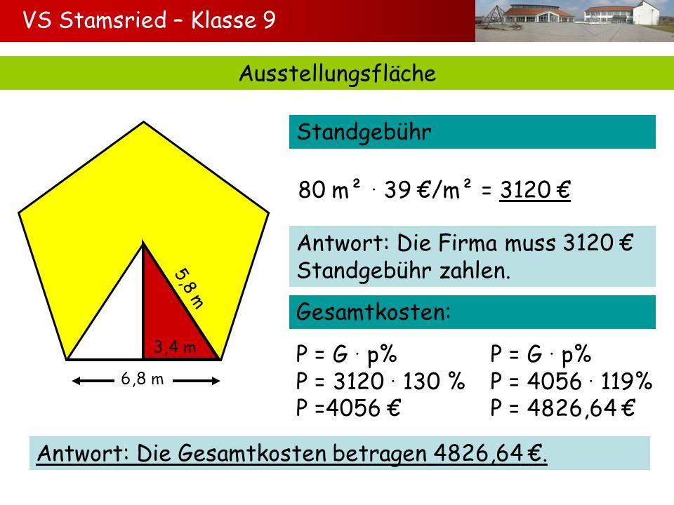 VS Stamsried – Klasse 9 Ausstellungsfläche 6,8 m 5,8 m 3,4 m Standgebühr 80 m² 39 /m² = 3120 Antwort: Die Firma muss 3120 Standgebühr zahlen. P = G p%