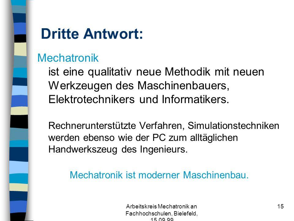 Arbeitskreis Mechatronik an Fachhochschulen, Bielefeld, 15.09.99 14 Zweite Antwort: Mechatronik ist eine qualitativ neue Entwurfsmethode und Produktphilosophie.
