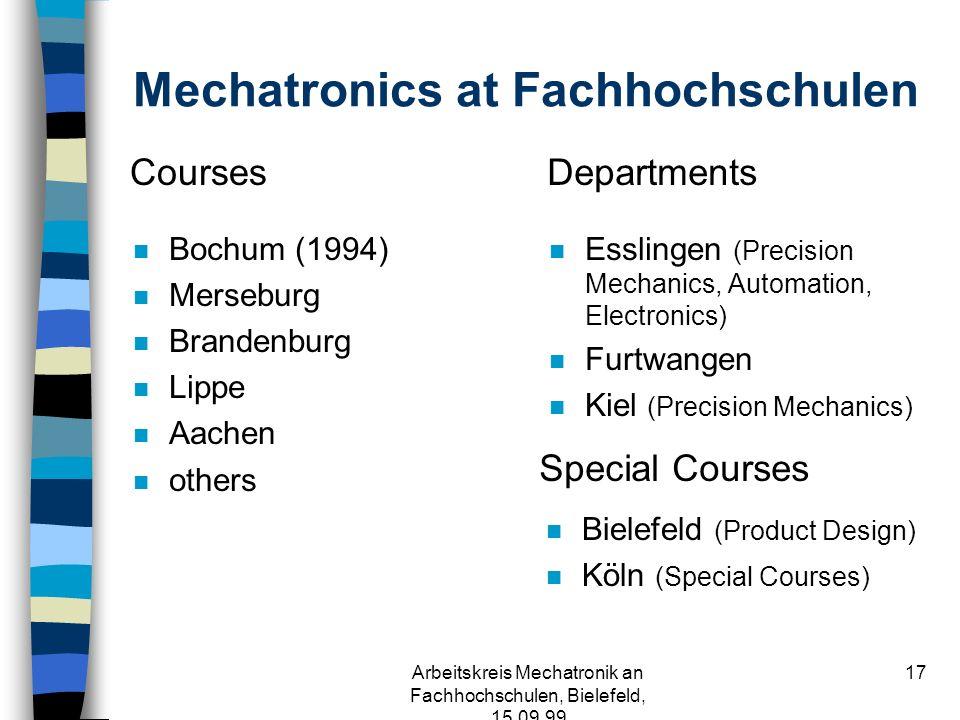 Arbeitskreis Mechatronik an Fachhochschulen, Bielefeld, 15.09.99 16 Vierte Antwort: Mechatronik ist ein neues Bildungsangebot und keine Modeerscheinung.