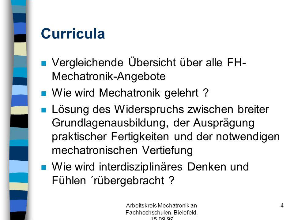 Arbeitskreis Mechatronik an Fachhochschulen, Bielefeld, 15.09.99 4 Curricula n Vergleichende Übersicht über alle FH- Mechatronik-Angebote n Wie wird Mechatronik gelehrt .