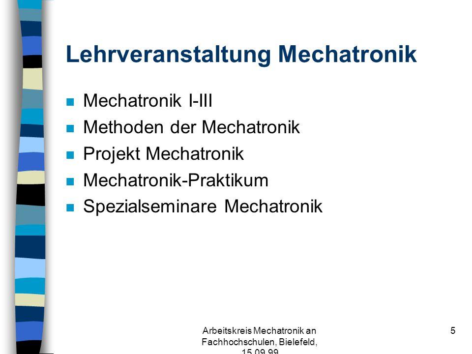 Arbeitskreis Mechatronik an Fachhochschulen, Bielefeld, 15.09.99 5 Lehrveranstaltung Mechatronik n Mechatronik I-III n Methoden der Mechatronik n Projekt Mechatronik n Mechatronik-Praktikum n Spezialseminare Mechatronik