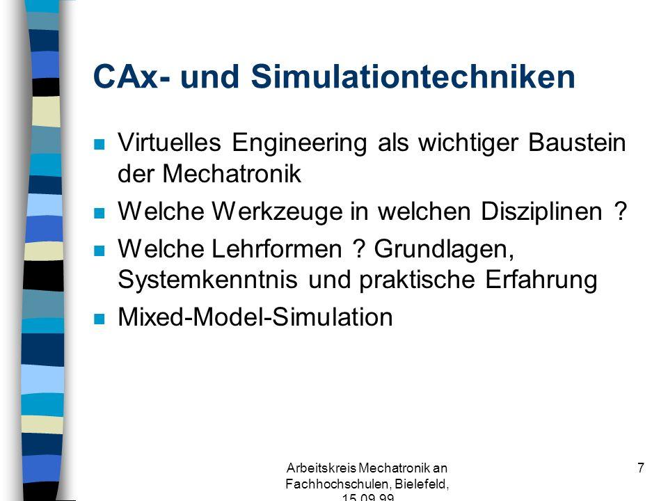 Arbeitskreis Mechatronik an Fachhochschulen, Bielefeld, 15.09.99 7 CAx- und Simulationtechniken n Virtuelles Engineering als wichtiger Baustein der Mechatronik n Welche Werkzeuge in welchen Disziplinen .