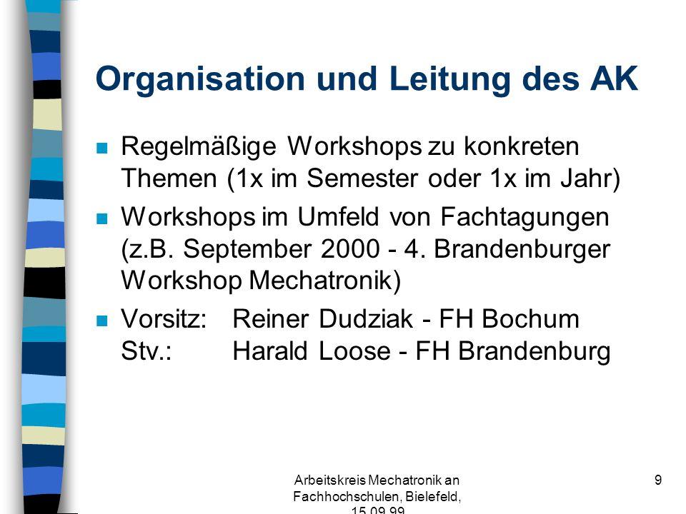 Arbeitskreis Mechatronik an Fachhochschulen, Bielefeld, 15.09.99 9 Organisation und Leitung des AK n Regelmäßige Workshops zu konkreten Themen (1x im Semester oder 1x im Jahr) n Workshops im Umfeld von Fachtagungen (z.B.
