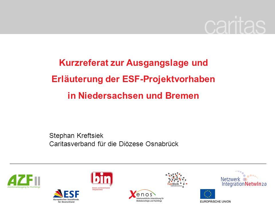 Kurzreferat zur Ausgangslage und Erläuterung der ESF-Projektvorhaben in Niedersachsen und Bremen Stephan Kreftsiek Caritasverband für die Diözese Osna