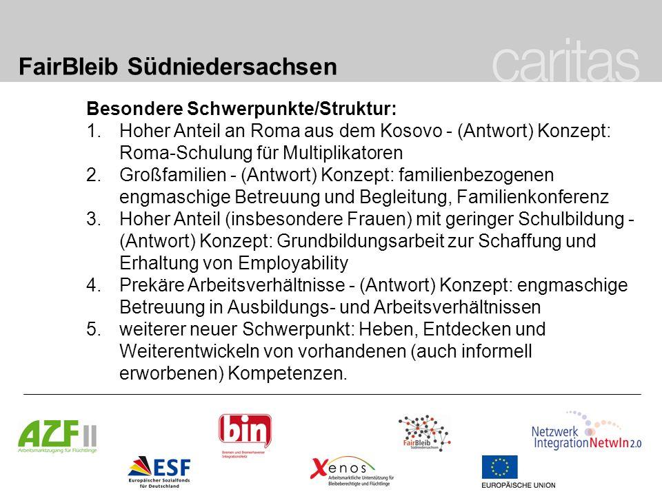 FairBleib Südniedersachsen Besondere Schwerpunkte/Struktur: 1.Hoher Anteil an Roma aus dem Kosovo - (Antwort) Konzept: Roma-Schulung für Multiplikator