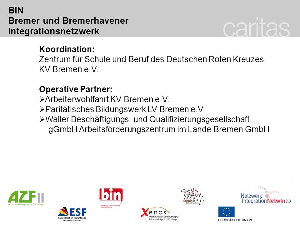 BIN Bremer und Bremerhavener Integrationsnetzwerk Koordination: Zentrum für Schule und Beruf des Deutschen Roten Kreuzes KV Bremen e.V. Operative Part