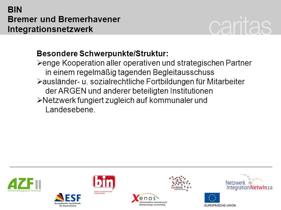 BIN Bremer und Bremerhavener Integrationsnetzwerk Besondere Schwerpunkte/Struktur: enge Kooperation aller operativen und strategischen Partner in eine