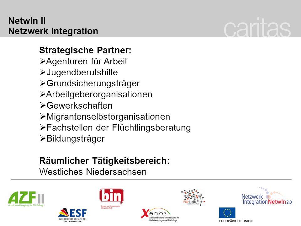 NetwIn II Netzwerk Integration Strategische Partner: Agenturen für Arbeit Jugendberufshilfe Grundsicherungsträger Arbeitgeberorganisationen Gewerkscha