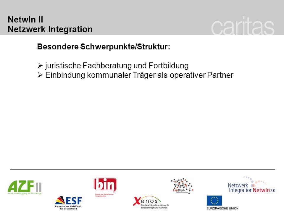 NetwIn II Netzwerk Integration Besondere Schwerpunkte/Struktur: juristische Fachberatung und Fortbildung Einbindung kommunaler Träger als operativer P