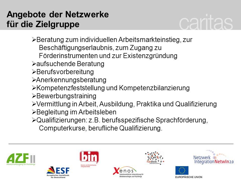 Angebote der Netzwerke für die Zielgruppe Beratung zum individuellen Arbeitsmarkteinstieg, zur Beschäftigungserlaubnis, zum Zugang zu Förderinstrument